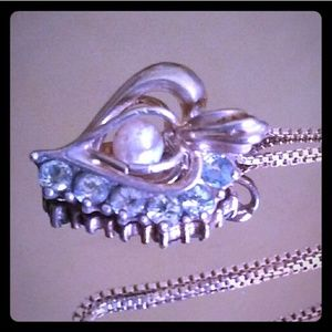 VINTAGE 925 Blue Topaz Caged *Real* Pearl Heart